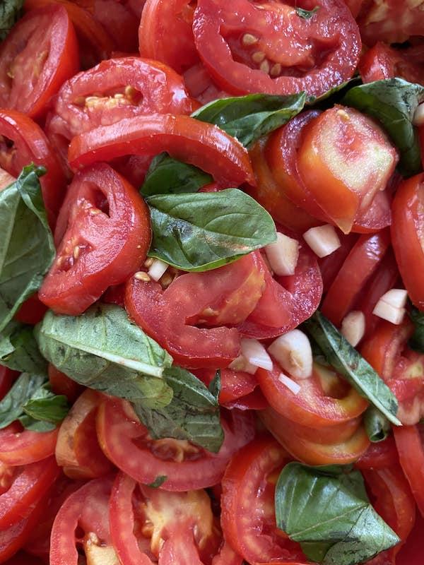 tomatoes, basil and garlic